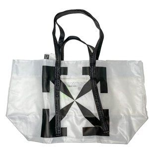 OFF-WHITE Arrows-logo White Commercial Tote Bag